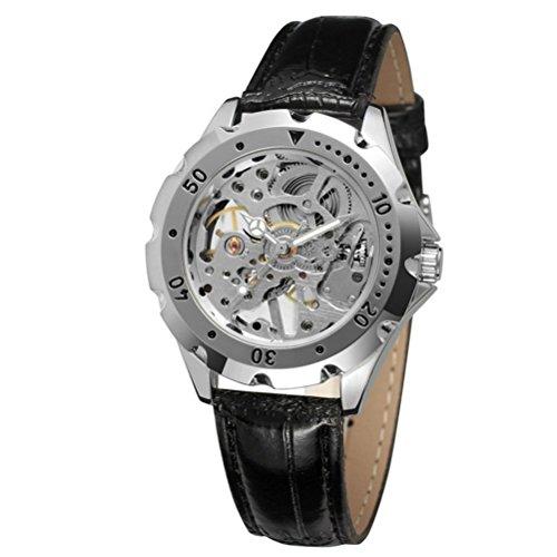PIXNOR Mechanische Silber Skelett Edelstahl mit PU Leder Uhrenarmband