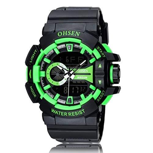 PIXNOR OHSEN AD1505 wasserdichte Maenner Boys Dualzeit Anzeige LED Digital Quarz Sport Uhr gruen