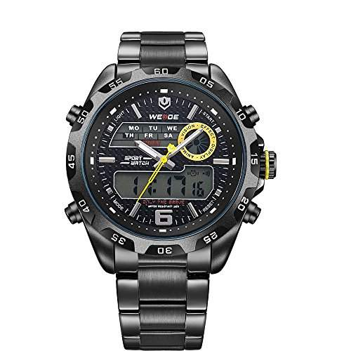 PIXNOR WEIDE WH-3403 wasserdichte Herren LED Digital Analog Dualzeit Anzeige Edelstahl-Band Sport Handgelenk WatchSchwarz+Gelb