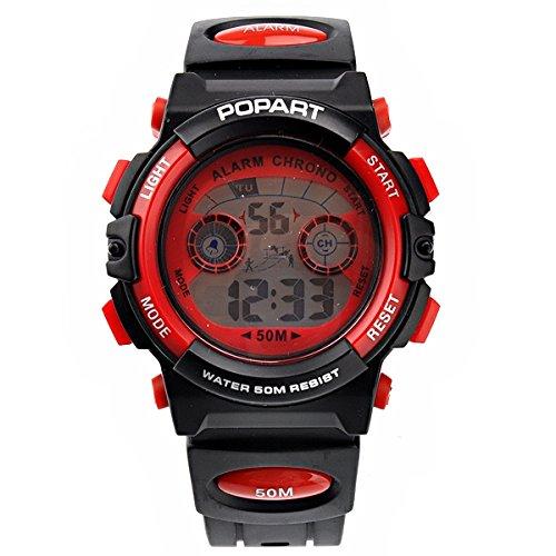 Pixnor 183 50M wasserdicht Multifunktions Kinder Sport Armbanduhr mit Alarm Calendar rot