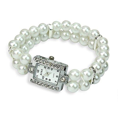 Pixnor Armband Uhr Dame Maedchen Mode grosszuegige Pearl und Strass verziert Armband Wirst Watch Weiss