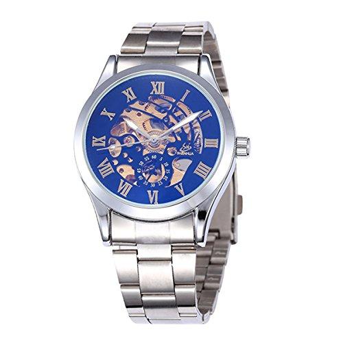 Pixnor Maenner automatische mechanische Armbanduhr mit Edelstahl Band schwarz silber