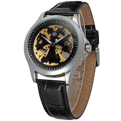 Pixnor Maenner automatische mechanische Armbanduhr mit PU Band silber schwarz