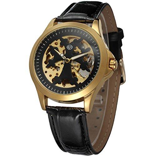 Pixnor Maenner automatische mechanische Armbanduhr mit PU Band Golden schwarz