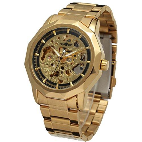PIXNOR Maenner automatische mechanische Armbanduhr Golden schwarz