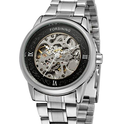 PIXNOR Maenner automatische mechanische Armbanduhr schwarz silber