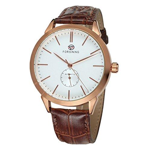 Pixnor Herren Edelstahl automatische mechanische Armbanduhr Rose Gold weiss