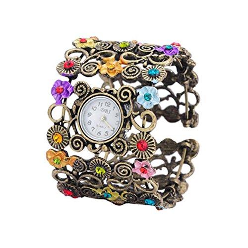 Pixnor Alte Frauen Floral Armband Wirst Watch Bronze