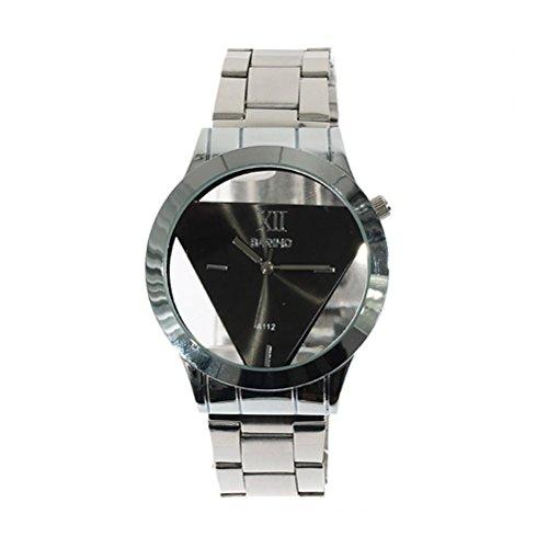 Pixnor Freizeitmode transparentes Zifferblatt Quarz Uhr mit Edelstahlband schwarz