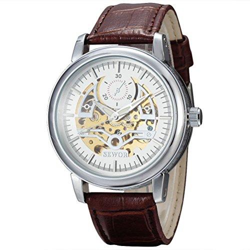 PIXNOR Maenner Automatische Mechanische Armbanduhr mit PU Band Weiss Silber Braun