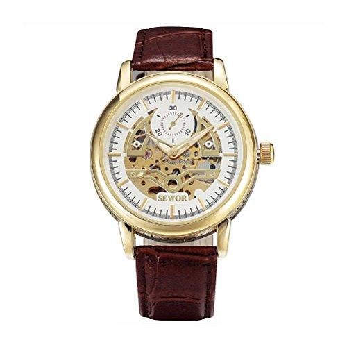 PIXNOR Maenner Automatische Mechanische Armbanduhr mit PU Band Weisse Gold Braun