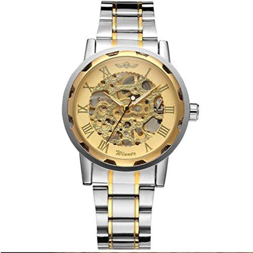 PIXNOR Coole Maenner Runde Dial mechanische Armbanduhr Golden