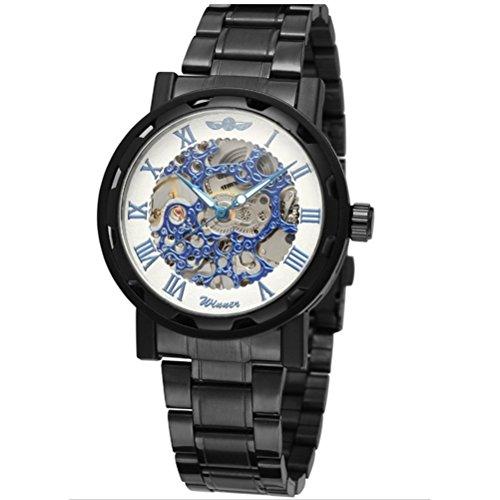 PIXNOR Coole Maenner Runde Dial mechanische Armbanduhr schwarz weiss blau