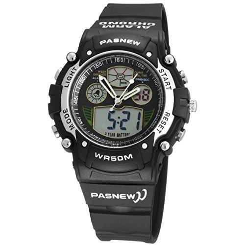 Pixnor PASNEW PSE 149A wasserdichte Unisex jungen Maedchen LED Digital Analog Dualzeit Anzeige Sport Armbanduhr mit Datum Alarm Stoppuhr Rubber Band schwarz