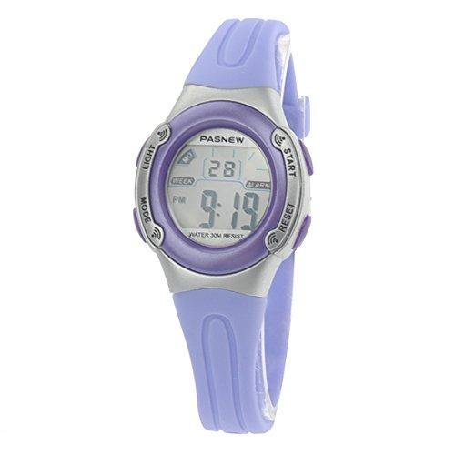 Pixnor PASNEW PSE 226 wasserdichte Kinder jungen Maedchen LED Digital Sport Uhr mit Datum Alarm Stoppuhr Licht Lila