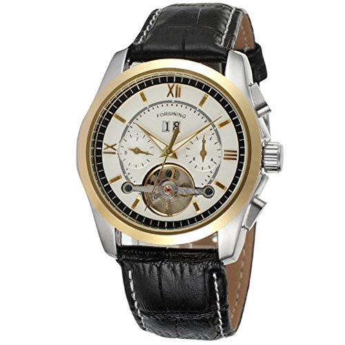 Pixnor Herren Tourbillon Automatik mechanische Armbanduhr mit PU Band weiss Gold