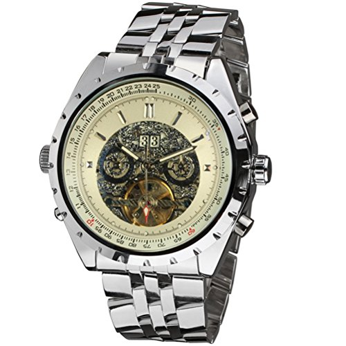 Pixnor Herren Tourbillon Automatik mechanische Armbanduhr mit rostfreier Stahl Band weiss
