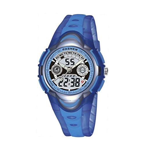 Pixnor Jungen Maedchen Sport wasserdicht Blacklight Digital Fashion multifunktionale Armbanduhren hellblau