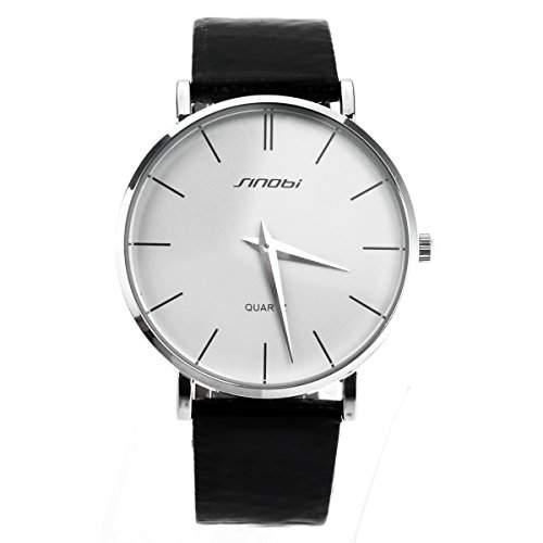 Pixnor Mode-ultra-duennen runden Zifferblatt Herren jungen Quarz-Armbanduhr mit PU-Band weiss