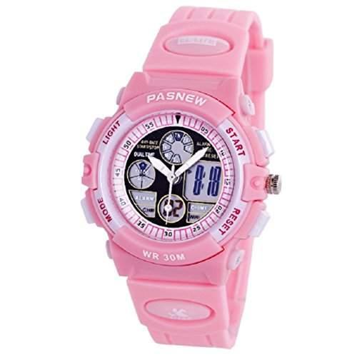PIXNOR PASNEW PSE - 048G multi-funktionale Wateproof Unisex jungen Maedchen Dualzeit Anzeige LED Digital Analog-Sport-Armbanduhr mit Datum Alarm Pink