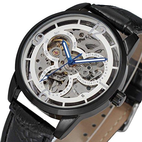 PIXNOR Stainless Steel automatische mechanische Armbanduhr mit PU Band fuer Maenner Silber