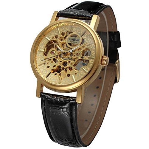 PIXNOR Stainless Steel automatische mechanische Armbanduhr mit PU Band fuer Maenner Golden