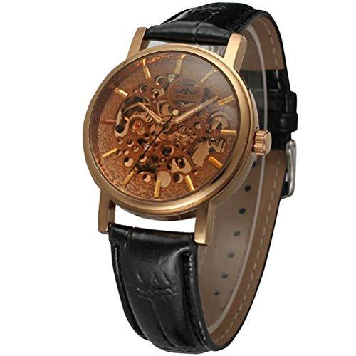 PIXNOR Stainless Steel automatische mechanische Armbanduhr mit PU Band fuer Maenner Rot gold