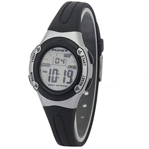 PIXNOR PASNEW PSE-226 Wasserdichte Jungen Maedchen LED Digital Sport Uhr mit Datum Alarm Stoppuhr schwarz