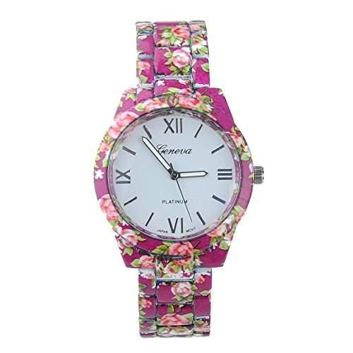 Fashion Frauen Uhr Silikon Band Blumen Druck Gelee Sport Quarz Armbanduhr Armbanduhren Bracelet Watches
