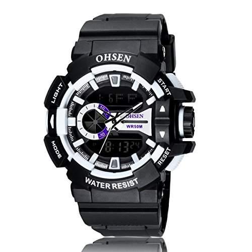 PIXNOR OHSEN AD1505 wasserdichte Maenner Boys Dualzeit Anzeige LED Digital Quarz Sport WatchWhite