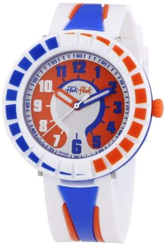 Flik Flak Watches Unisex-Armbanduhr All Around Blue & Orange Analog Quarz Plastik FCSP009