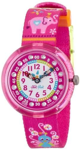 Flik Flak FBNP002 SUMMER COLORS Uhr Maedchen Kinderuhr Stoffband Kunststoff 30m Analog Zrikonia weiss pink