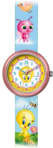 Flik Flak FLN045 Kinderuhr TWEETY FRIENDS HAND BAG blau Stoffband 30m Analog