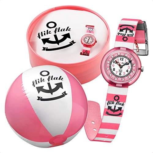 Flik Flak FTNP003 PINK STRIPES Uhr Maedchen Kinderuhr Set Stoffband Kunststoff 30m Analog rosa