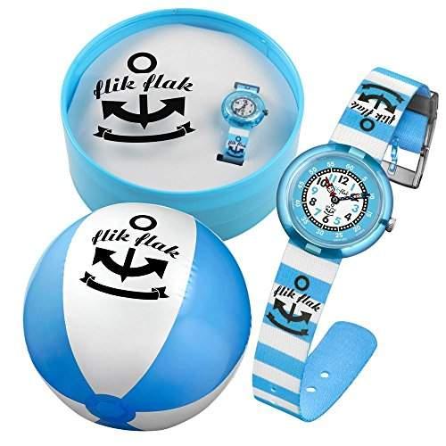 Flik Flak FTNP004 BLUE STRIPES Uhr Junge Kinderuhr Set Stoffband Kunststoff 30m Analog blau