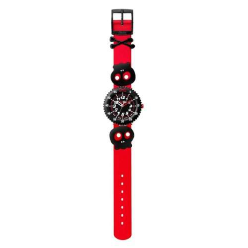 Flik Flak Watches Jungen-Armbanduhr Funny Hours Pre School Boys SKULLY BONES RED Analog Silikon FPS040