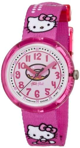Flik Flak Watches Maedchen-Armbanduhr Hello Kitty Analog Quarz Textil FLNP001