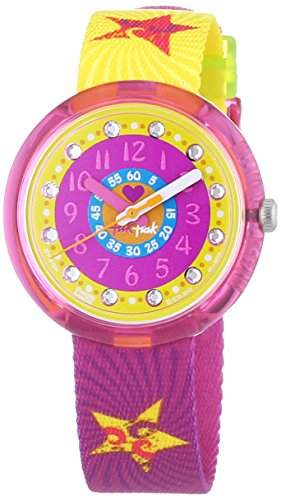 Flik Flak Watches Maedchen-Armbanduhr Pink Splashy & Flashy Analog Quarz Textil FPNP004
