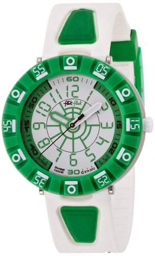 Flik Flak Watches Unisex-Armbanduhr Shaped White & Green Analog Quarz Plastik FCS029