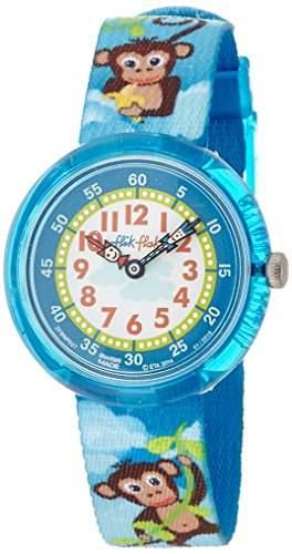 Flik Flak FBNP037 MONKEY BUSINESS Uhr Junge Kinderuhr Affen Stoffband Kunststoff 30m Analog blau