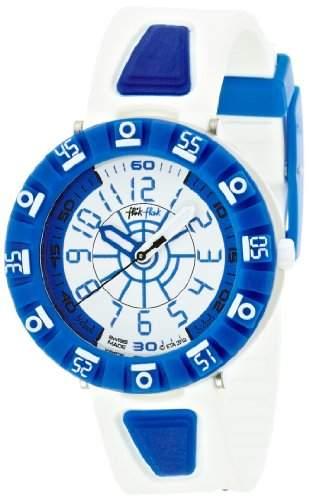 Flik Flak FCS030 SHAPED WHITE & BLUE Uhr Junge Kinderuhr Kautschuk Aluminium 30m Analog