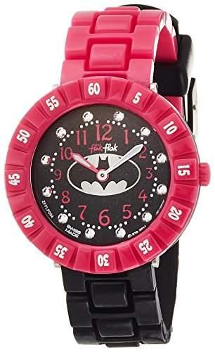 Flik Flak FFLP004 BATGIRL Uhr Maedchen Kinderuhr Kunststoff Kunststoff 30m Analog schwarz-pink