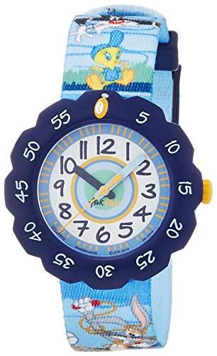 Flik Flak FLSP008 LOONEY TUNES FUN & FIT Uhr Junge Kinderuhr Stoffband Kunststoff 30m Analog blau