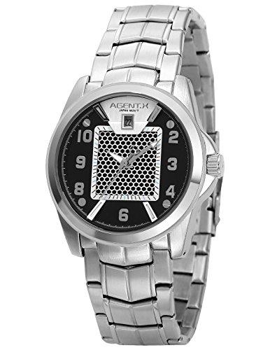 Agent X Herren Armbanduhr Silber Edelstahl Uhrband Quarzuhr AGX139