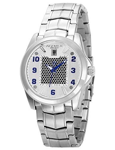 Agent X Herren Armbanduhr Silber Edelstahl Uhrband Quarzuhr AGX137