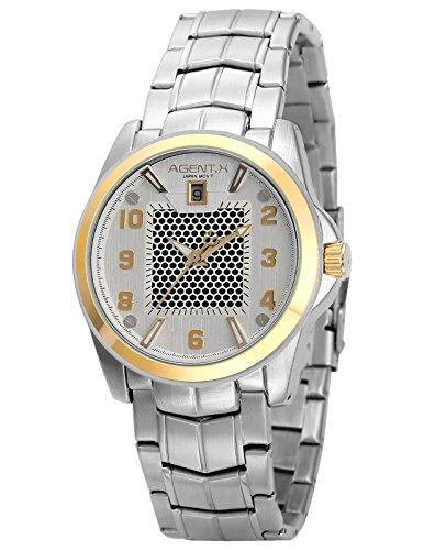 Agent X Herren Armbanduhr Silber Edelstahl Uhrband Quarzuhr AGX138