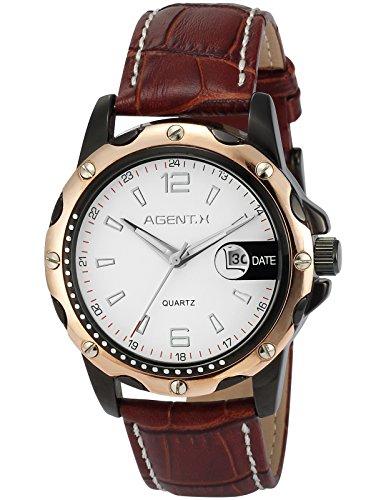 Agent X Quarzuhr Braune Armband aus Leder Datumanzeige AGX009