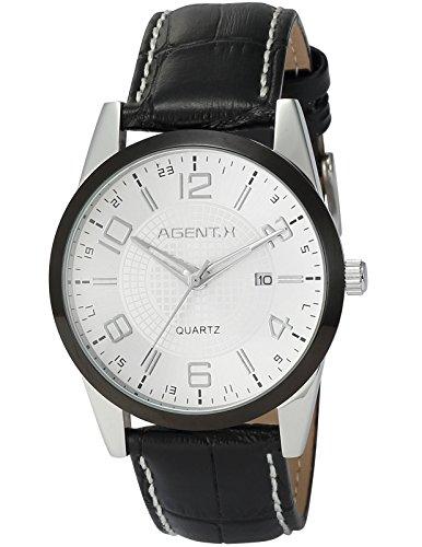 Agent X Herren Armbanduhr Quarzuhr mit Schwarze Armband aus Leder AGX005