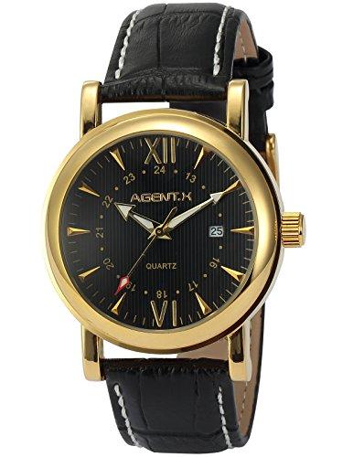 Agent X Quarzuhr mit Schwarze Armband aus Leder AGX013