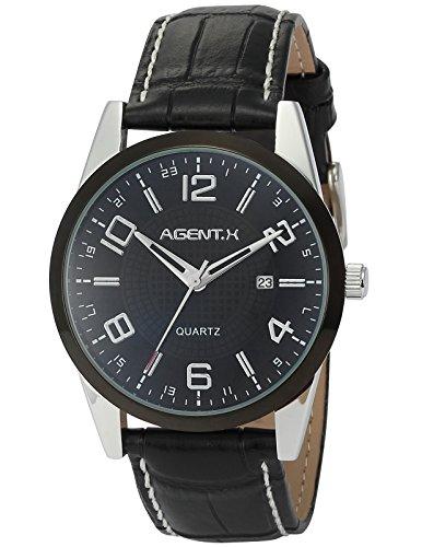 Agent X Quarzuhr mit Schwarze Armband aus Leder AGX006